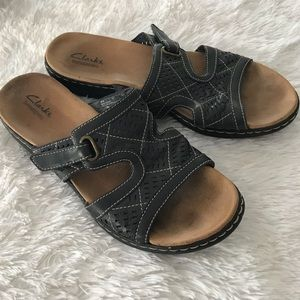 Clarks Brown Leather slide on Sandals